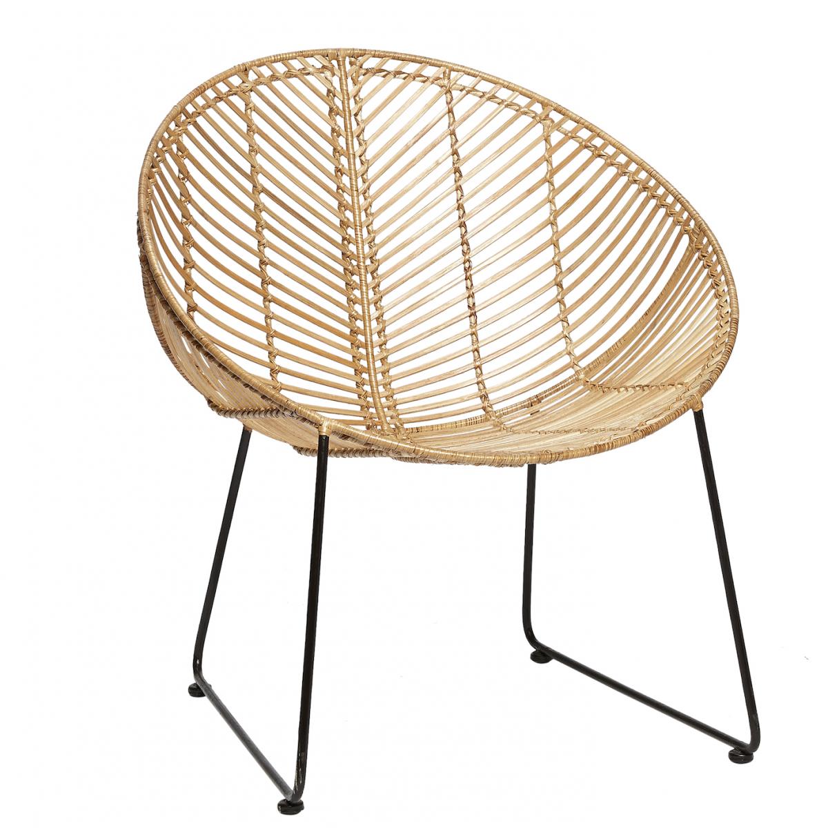 Meuble Design Scandinave Chaise Ronde En Rotin Naturel71x67xh77cm Fauteuil Rotin Decoration Salon Canape Noir Meuble Osier