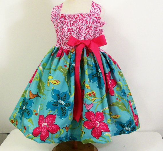 Girls Shirred top DressPink Aqua FloralSizes 6M5T by togs4tots, $45.00