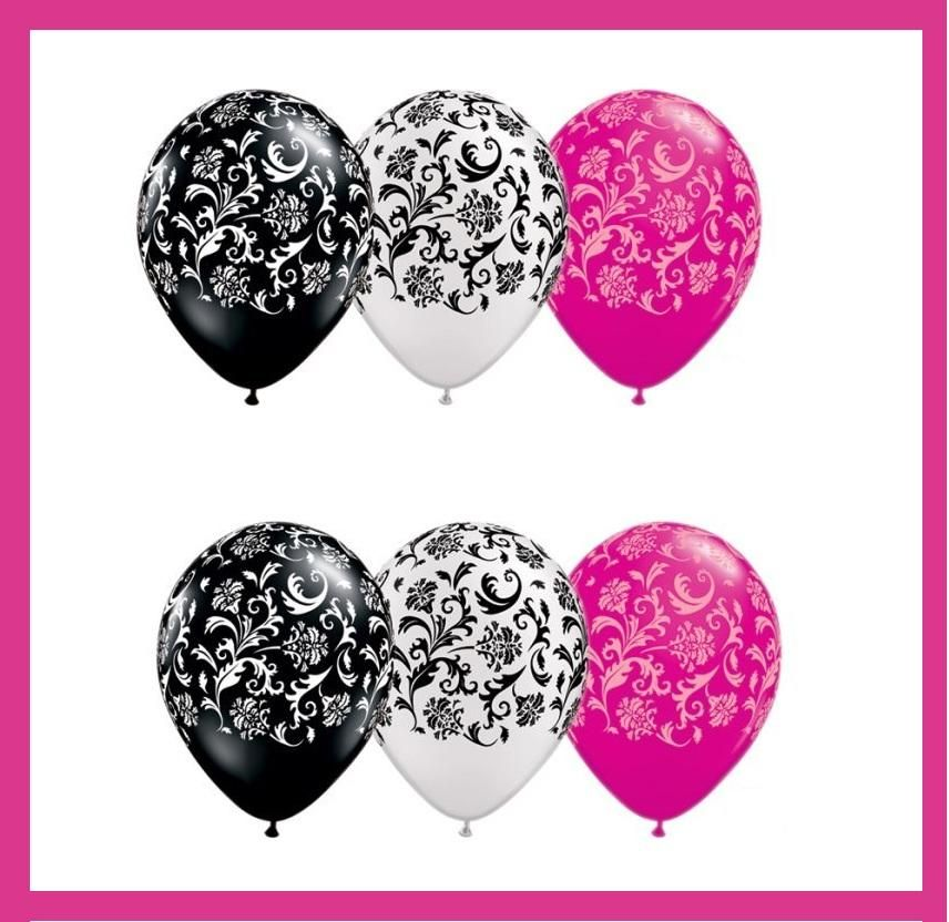 Birthday Wedding Baby Shower Damask Print Balloons Black Hot Pink