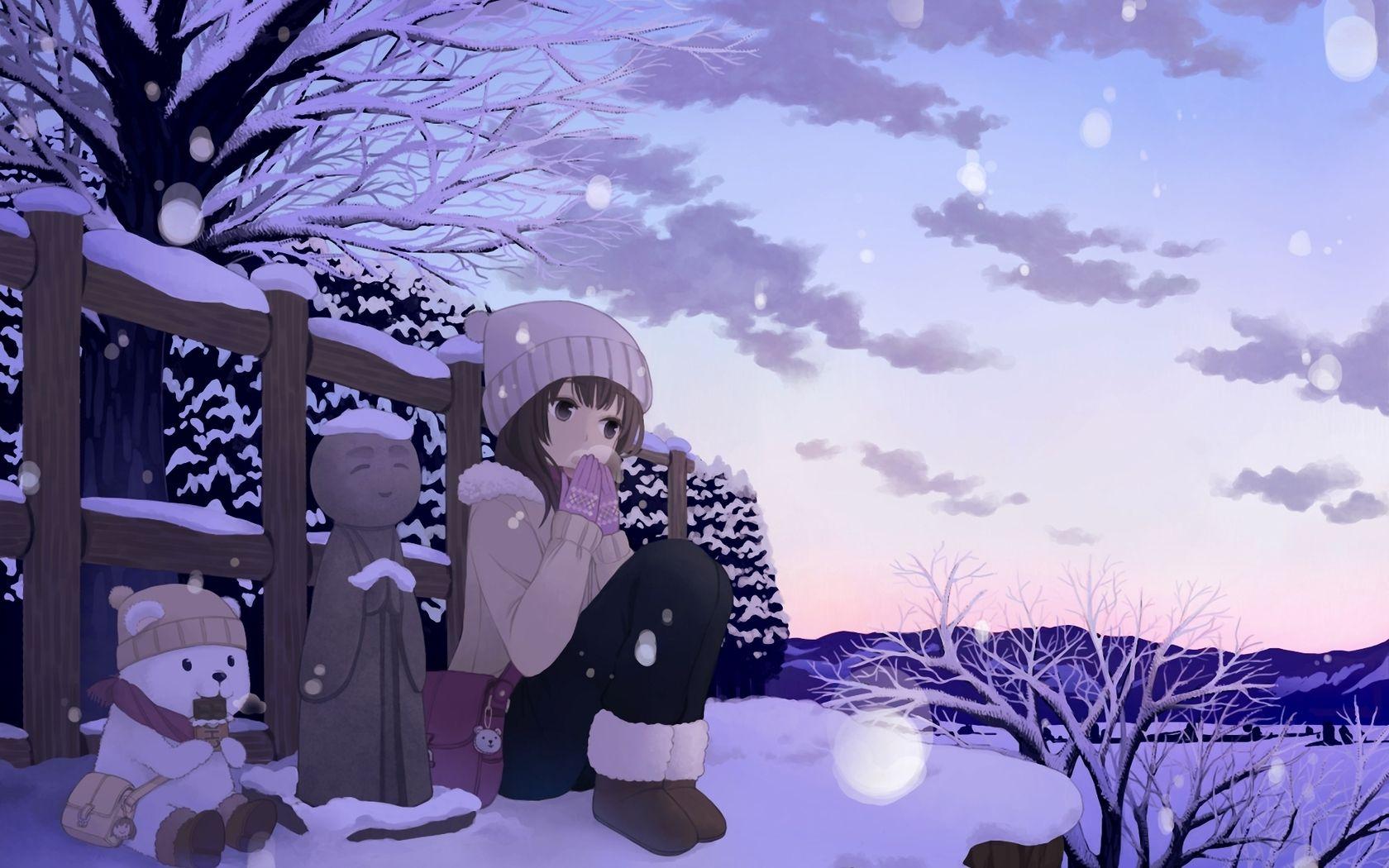 Anime Winter Wallpaper 42573 1680x1050 Px Anime Art Beautiful Cute Anime Wallpaper Anime Wallpaper