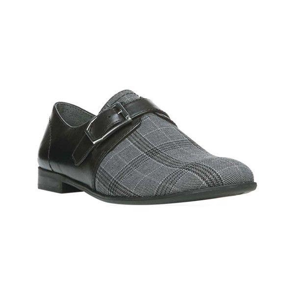 Women's Franco Sarto Truence Monkstrap - Grey Plaid Fab/New Elegance... ($99) ❤ liked on Polyvore featuring shoes, grey, grey leather shoes, leather shoes, tartan shoes, grey shoes and franco sarto shoes