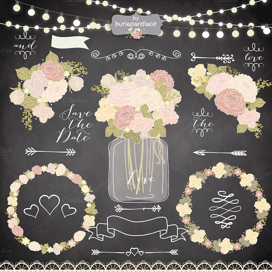 Vector chalk rustic flower clipart Flower clipart, Rustic flowers - fresh wedding invitation vector templates free download