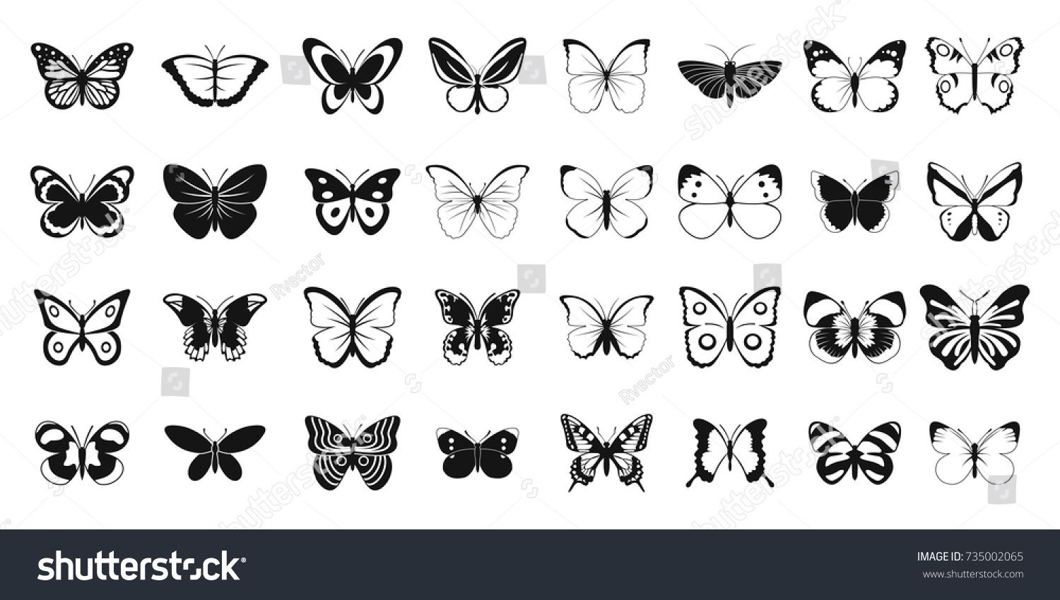 Butterfly Icon Set Simple Set Of Butterfly Vector Icons For Web Design Isolated On White Background Icon Set Butterfly Images Butterflies Vector