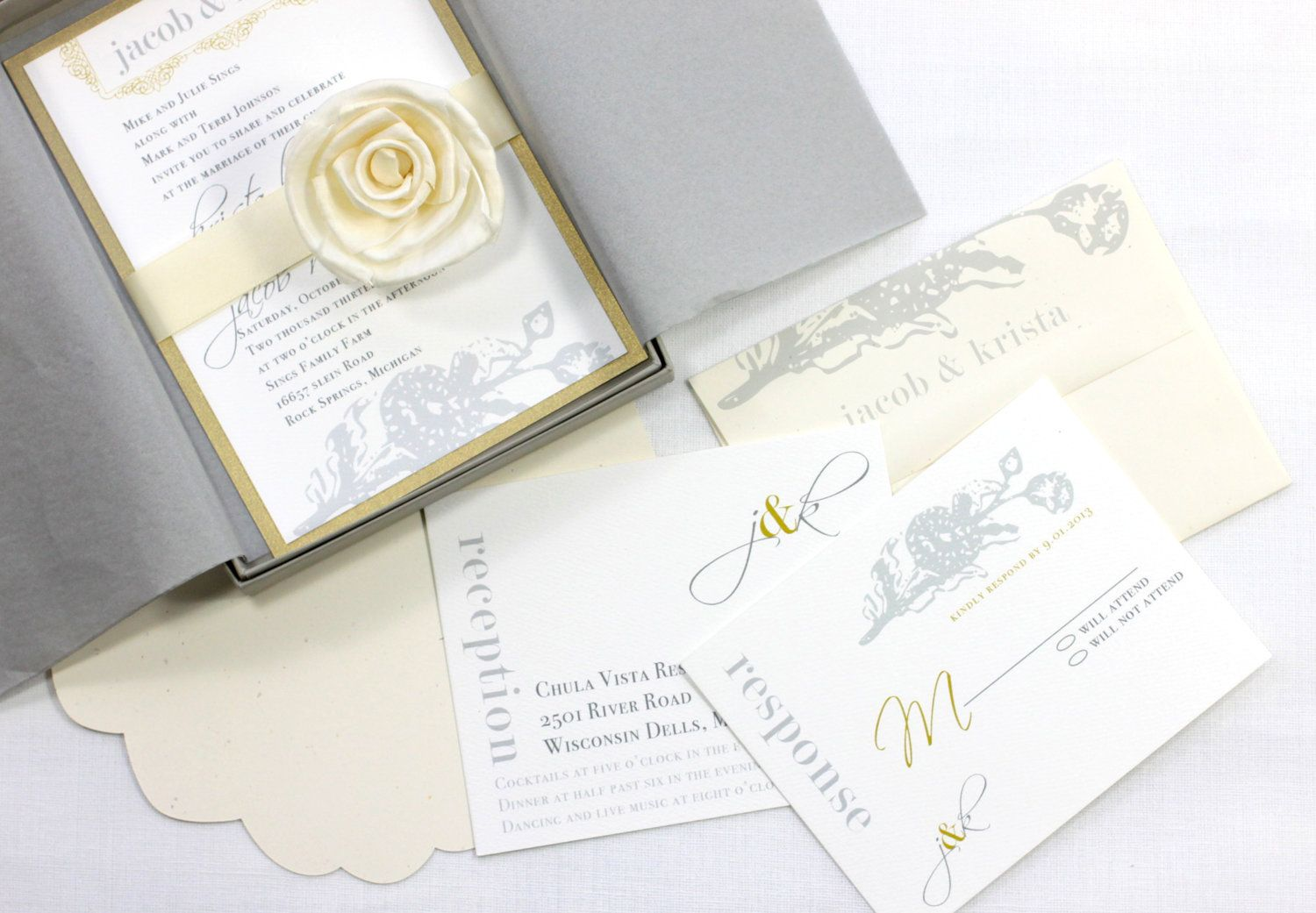 Elegant Ivory & Gold Luxury Boxed Wedding Invitations, Grey/Gray ...