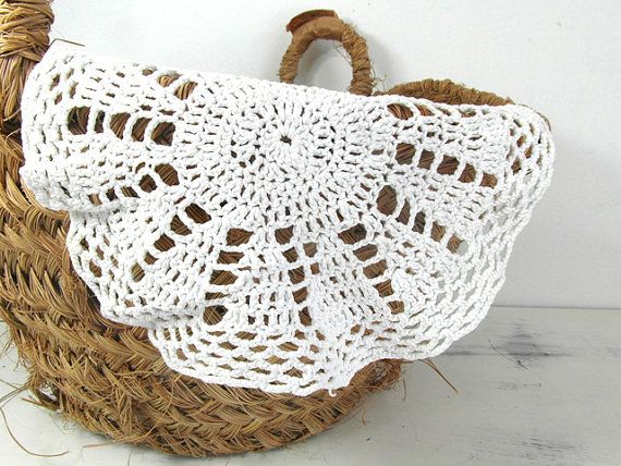 Small round handmade doily. White French by frenchvintagedream