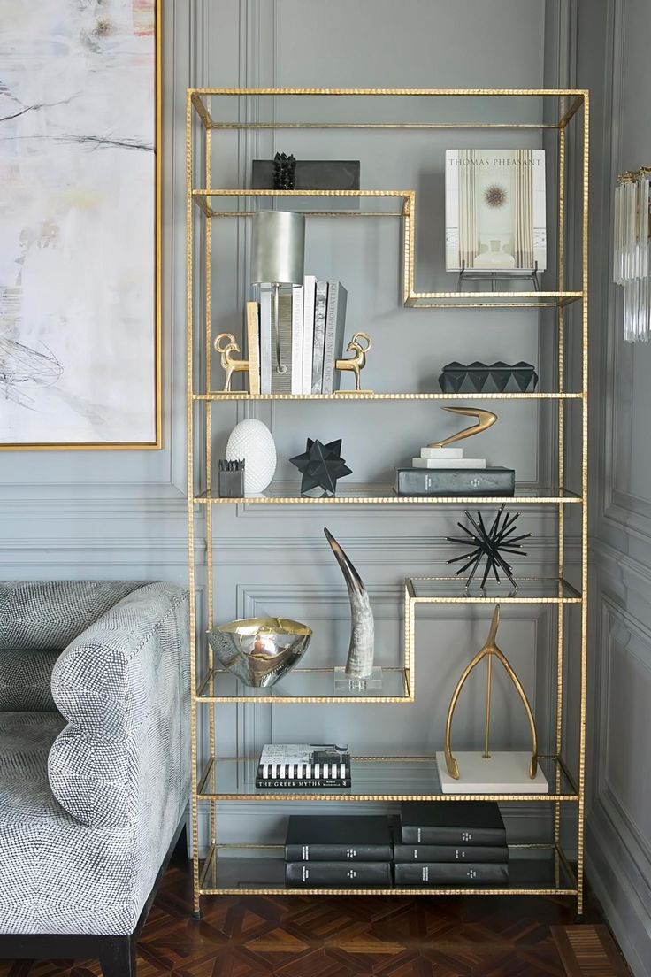 Decorative Brass Shelving Unit Perfect To Make Your Living Room Look And Feel More Organised Gold Furniture Interior Home Decor #shelf #unit #living #room