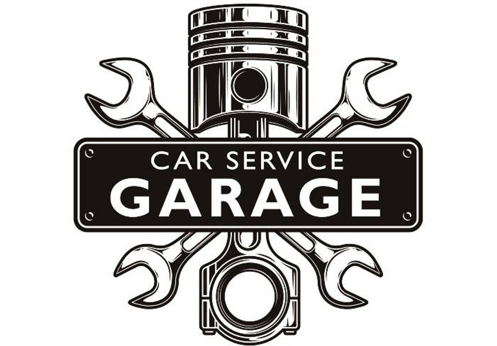 Mechanic Logo 3 Piston Wrench Crossed Engine Car Auto