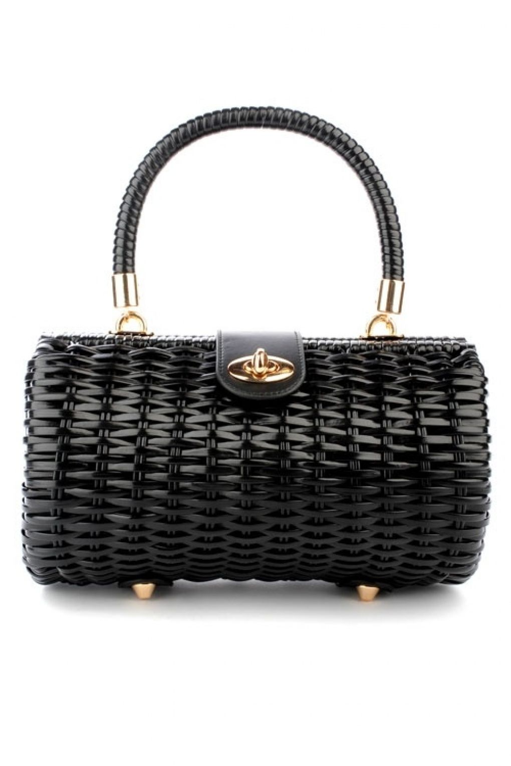 Pinup Couture 50s Vintage Wicker Baguette Purse In Black