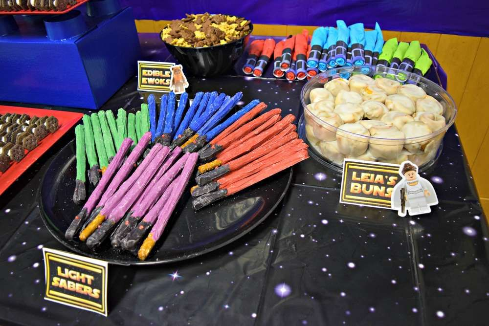 Fun themed snacks at a Star Wars birthday party! See more party ideas at CatchMyParty.com!