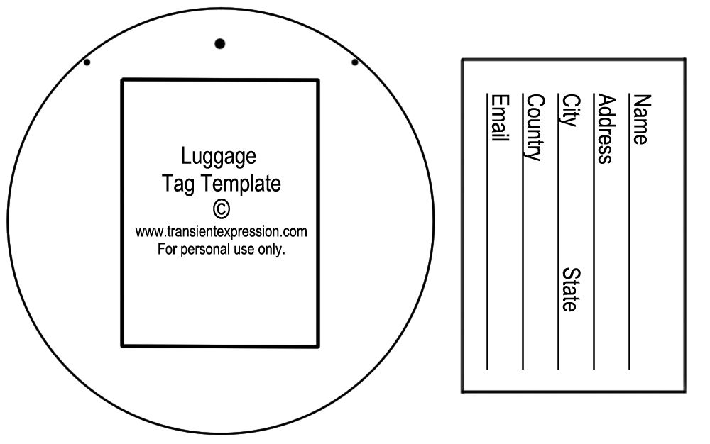 Luggage Tag Template  Craft Ideas    Tag Templates