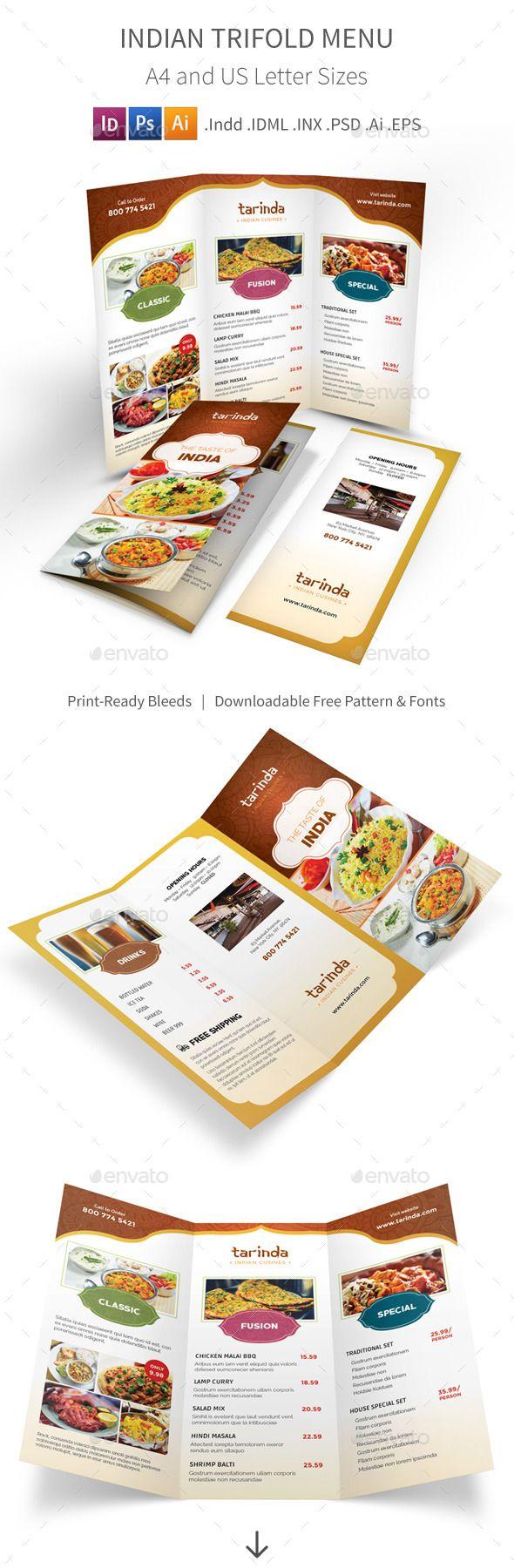 Indian Restaurant Trifold Menu