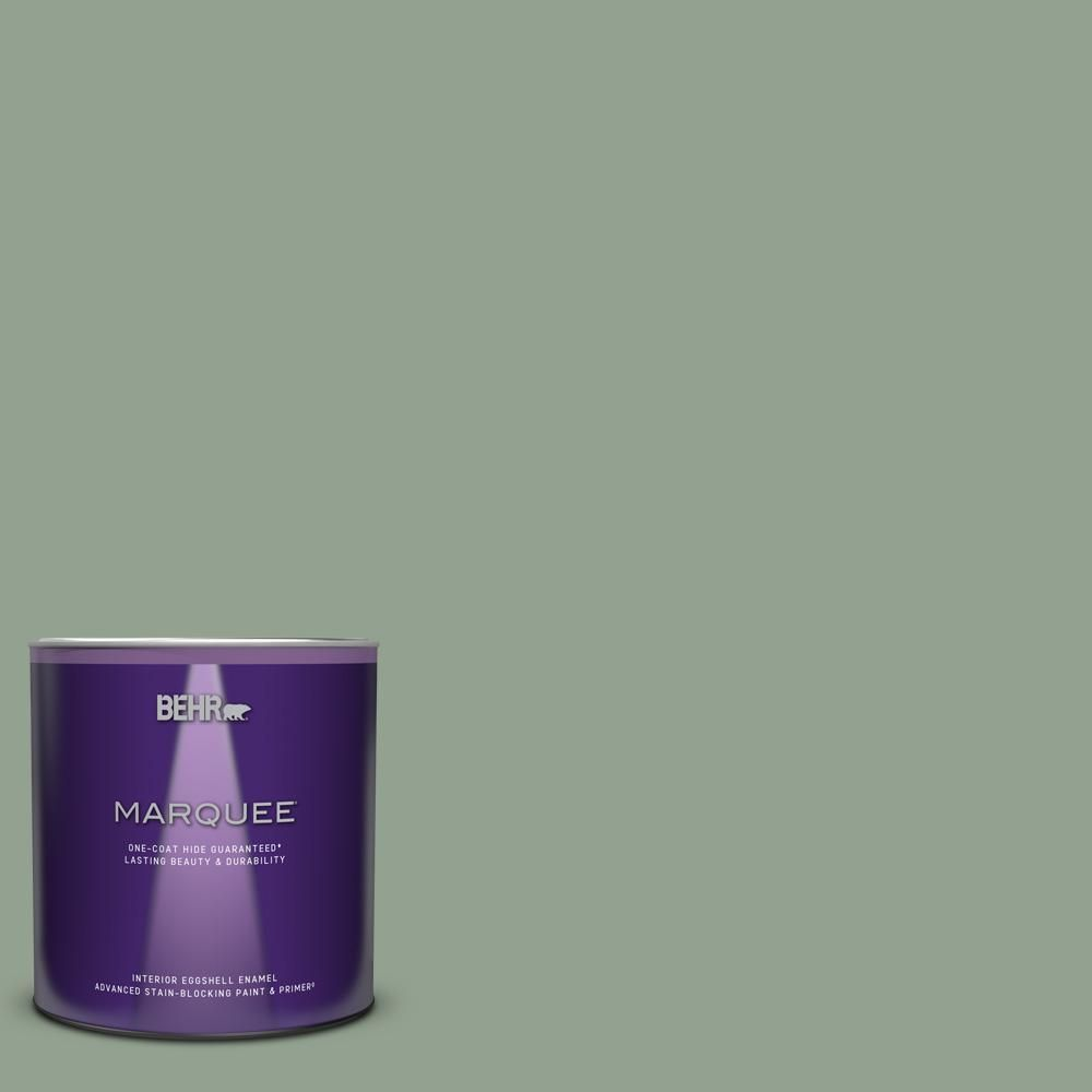 Behr Marquee 1 Qt N400 4 Forest Path One Coat Hide Eggshell Enamel Interior Paint Primer 245404 The Home Depot Behr Marquee Paint Behr Marquee Interior Paint
