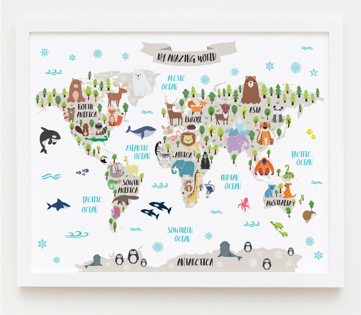 Animal World Map For Kids Map Art World Map Printable Nursery
