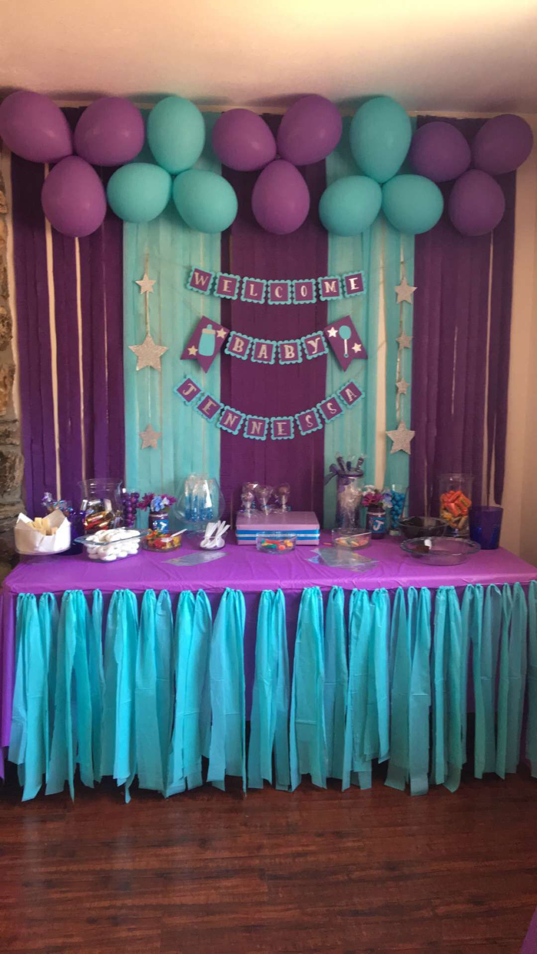 Baby shower banner purple turquoise ideas fiestas - Baby shower party ideen ...