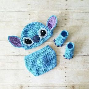 Photo of Crochet Stitch Hat Beanie Diaper Cover Shoes Lilo and Stitch Disney Costume Infant Newborn Baby Photography Prop Baby Shower Gift Baby Boy