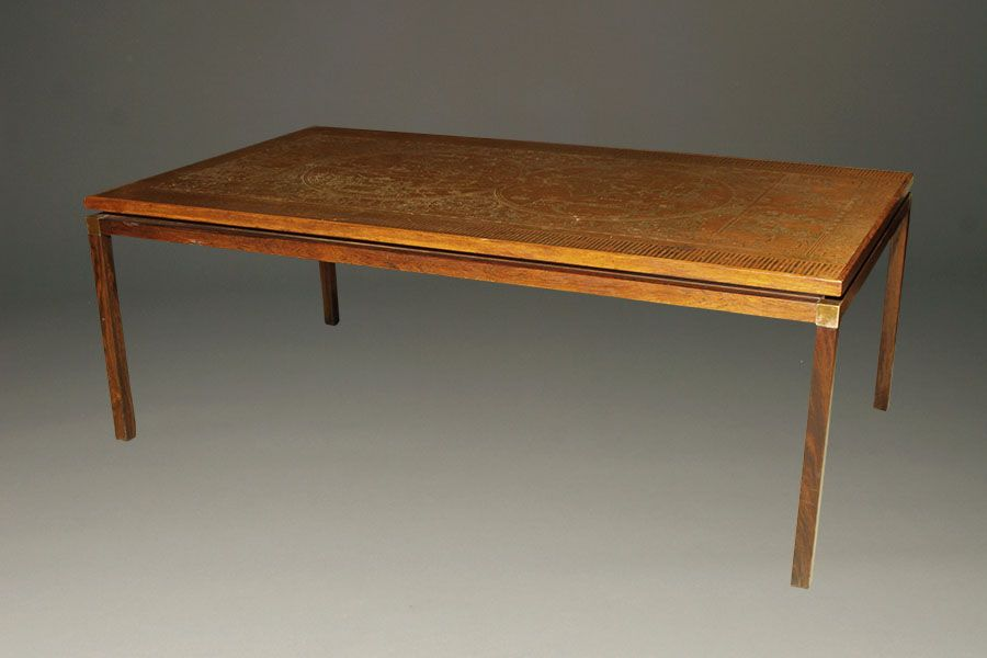 Simple Elegant Antique rosewood coffee table with copper top featuring a map of the world circa 1950 s coffeetable antique rosewood Style - Style Of rosewood coffee table Contemporary