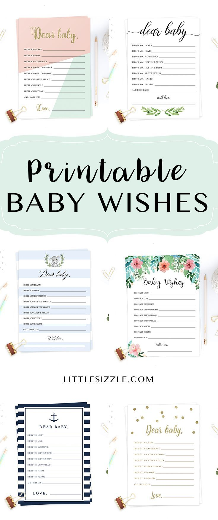 Printable wishes for the new baby cards by LittleSizzle