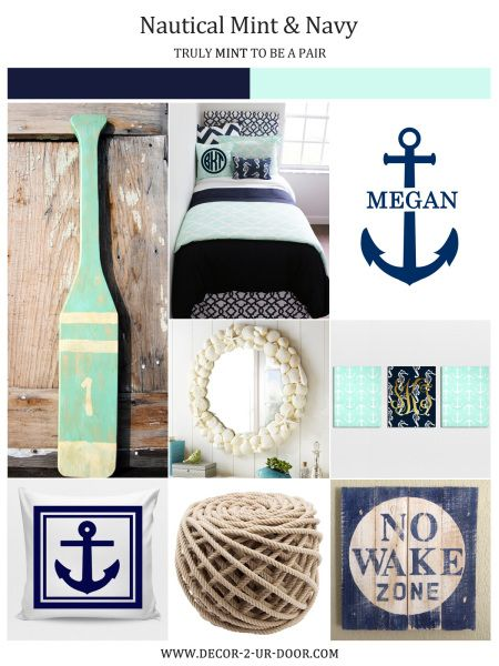 Nautical Navy And Mint Dorm Room Apartment Or Bedding Sorority Decor