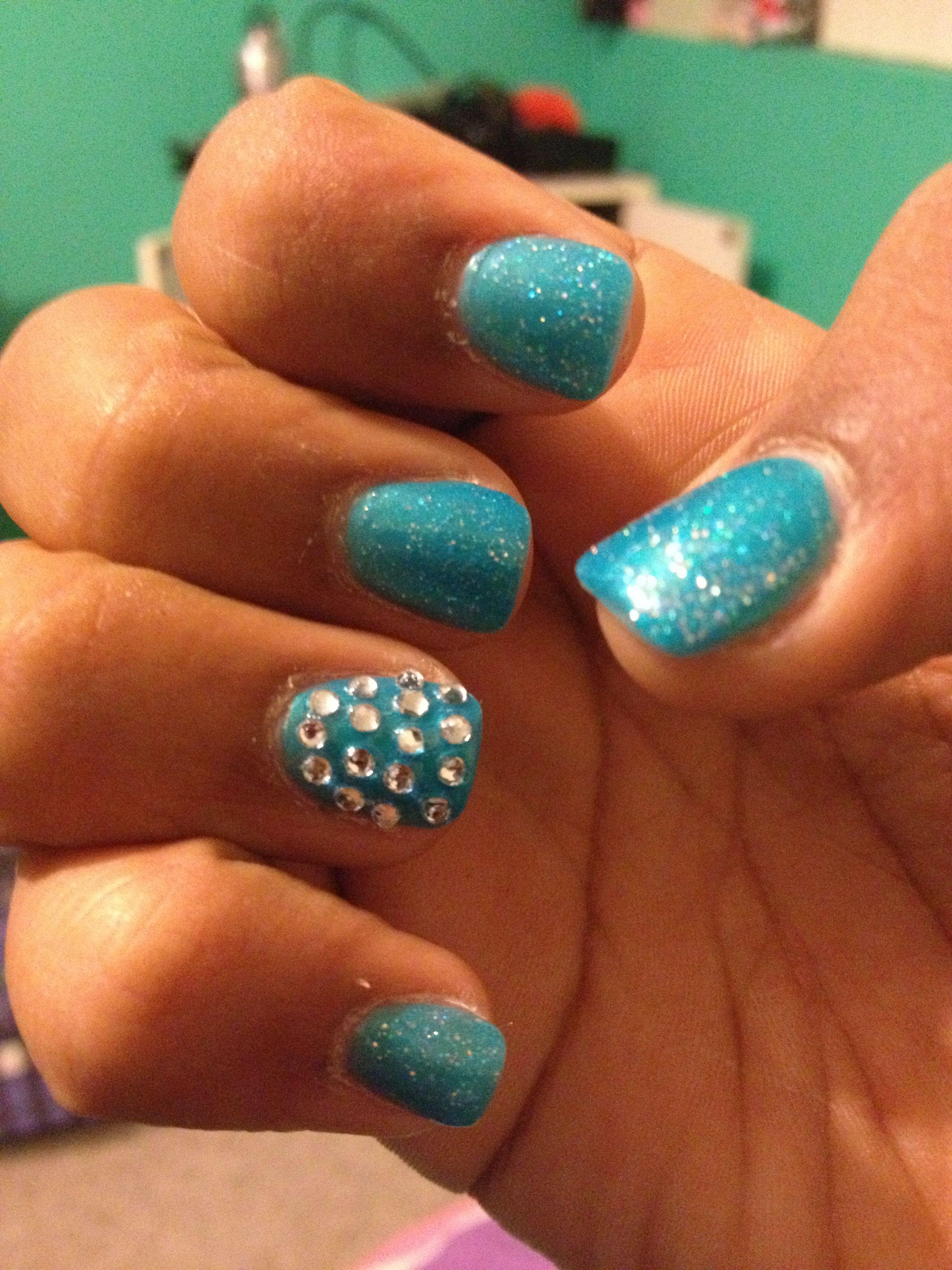 Nails, acrylics, accent nail, rhinestones, pretty, cute, fake nails ...
