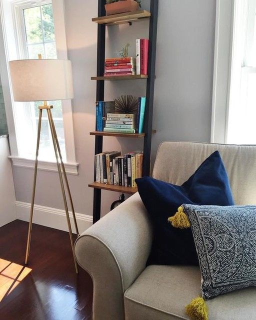 Ladder Bookshelf Narrow White Espresso Living Room