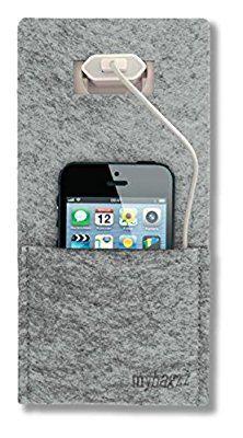 handy ladetasche ladestation aus filz in grau f r handys smartphones und digitalkameras. Black Bedroom Furniture Sets. Home Design Ideas