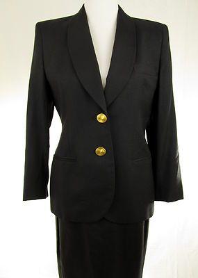10P Petite Jones NY Black Summer Career Skirt Suit Lightweight Linen Texture