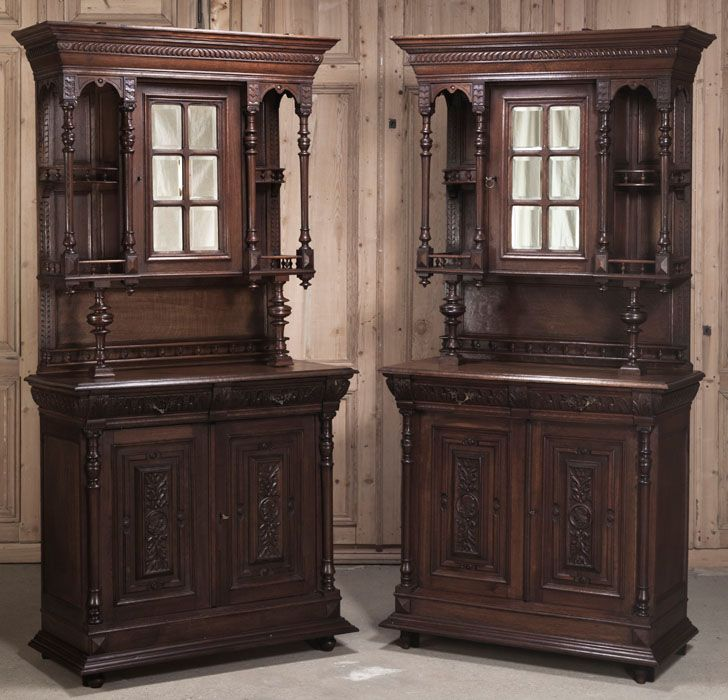 pair of henri ii buffets a deux corps china deux corps. Black Bedroom Furniture Sets. Home Design Ideas