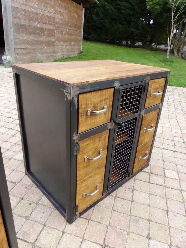 fabrication meuble bois métal style industriel sur mesure pomysły