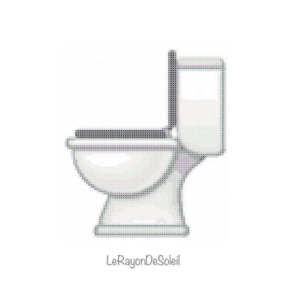 Emoji Toilet Cross Stitch Pattern Bathroom Funny Modern