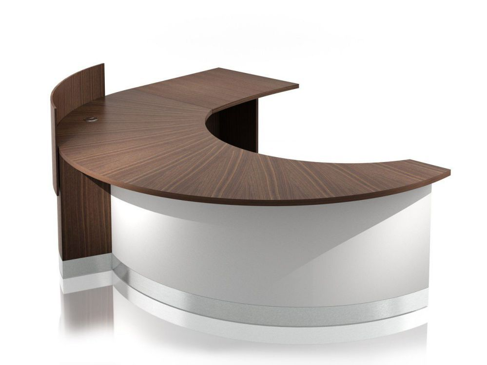 Crescent Single Low Extended Semi Circular Reception Desk With Screen