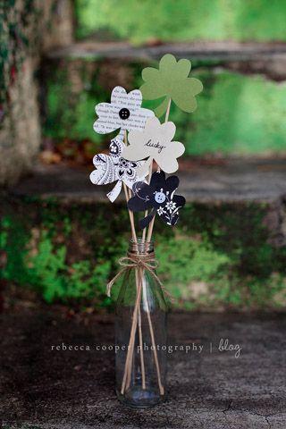 Paper Shamrock Bouquet: Directions