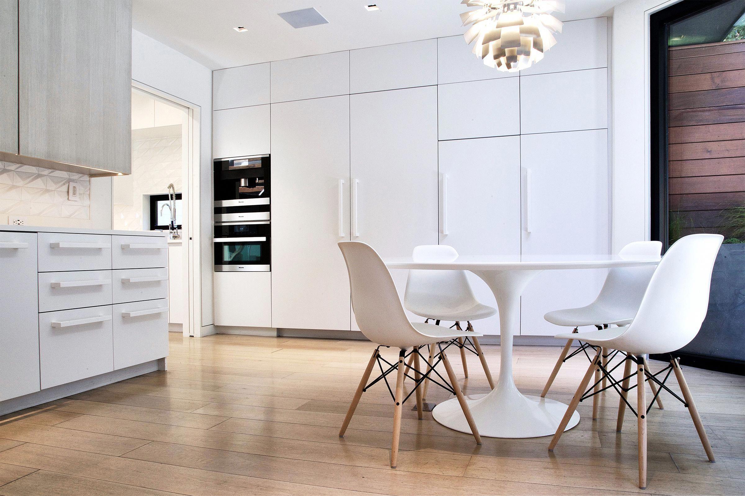 Breakfast Room   Saarinen Tulip Table, Eames Side Chairs, Miele Appliances,  Louis Poulsen