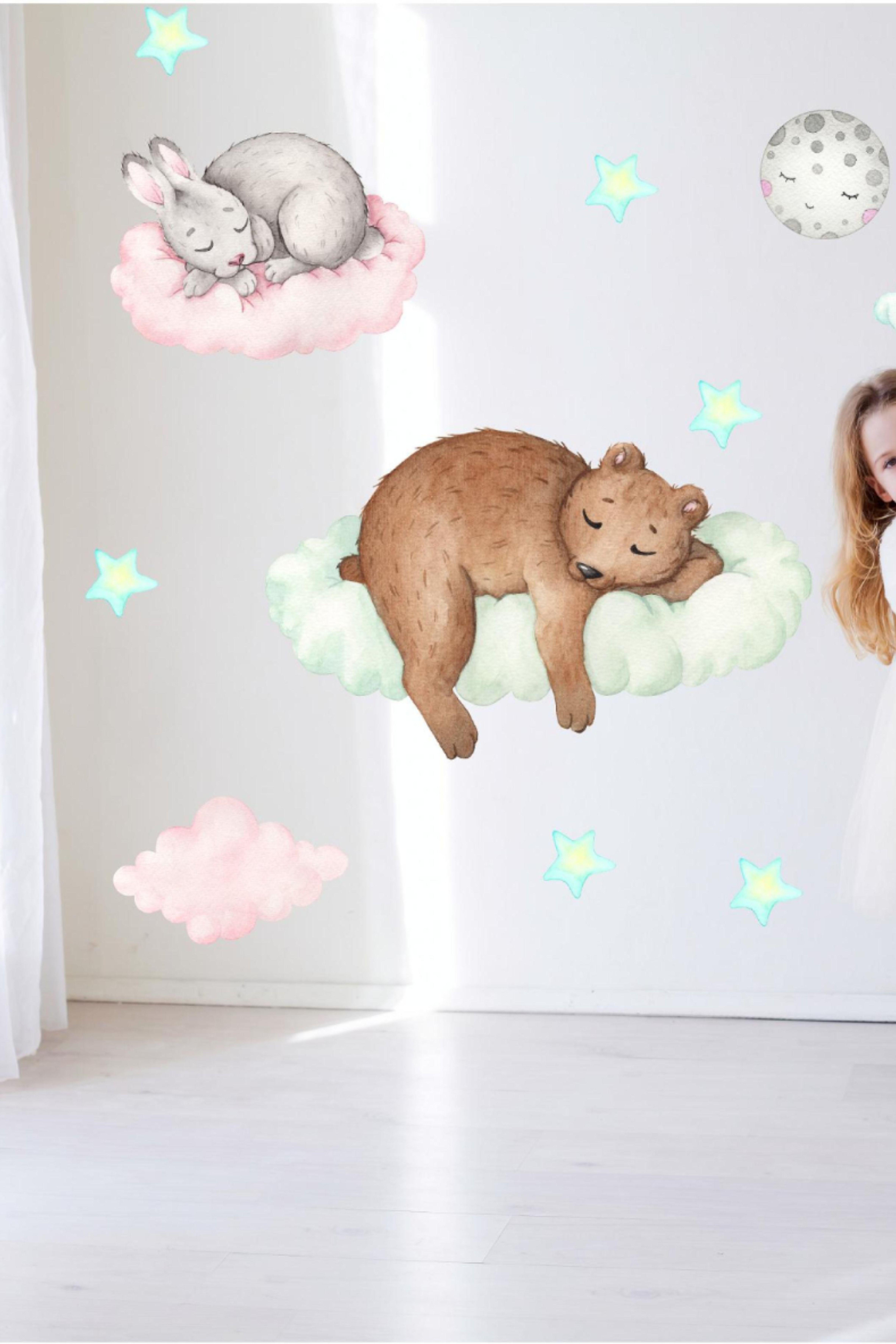 Wall Decal Animals Nursery Teddy Bear Bear Baby Boy Girl Sticker