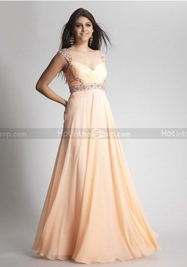 eecbe05dc766 A-line Straps Chiffon Floor-length Sleeveless Beading Prom Dresses ...