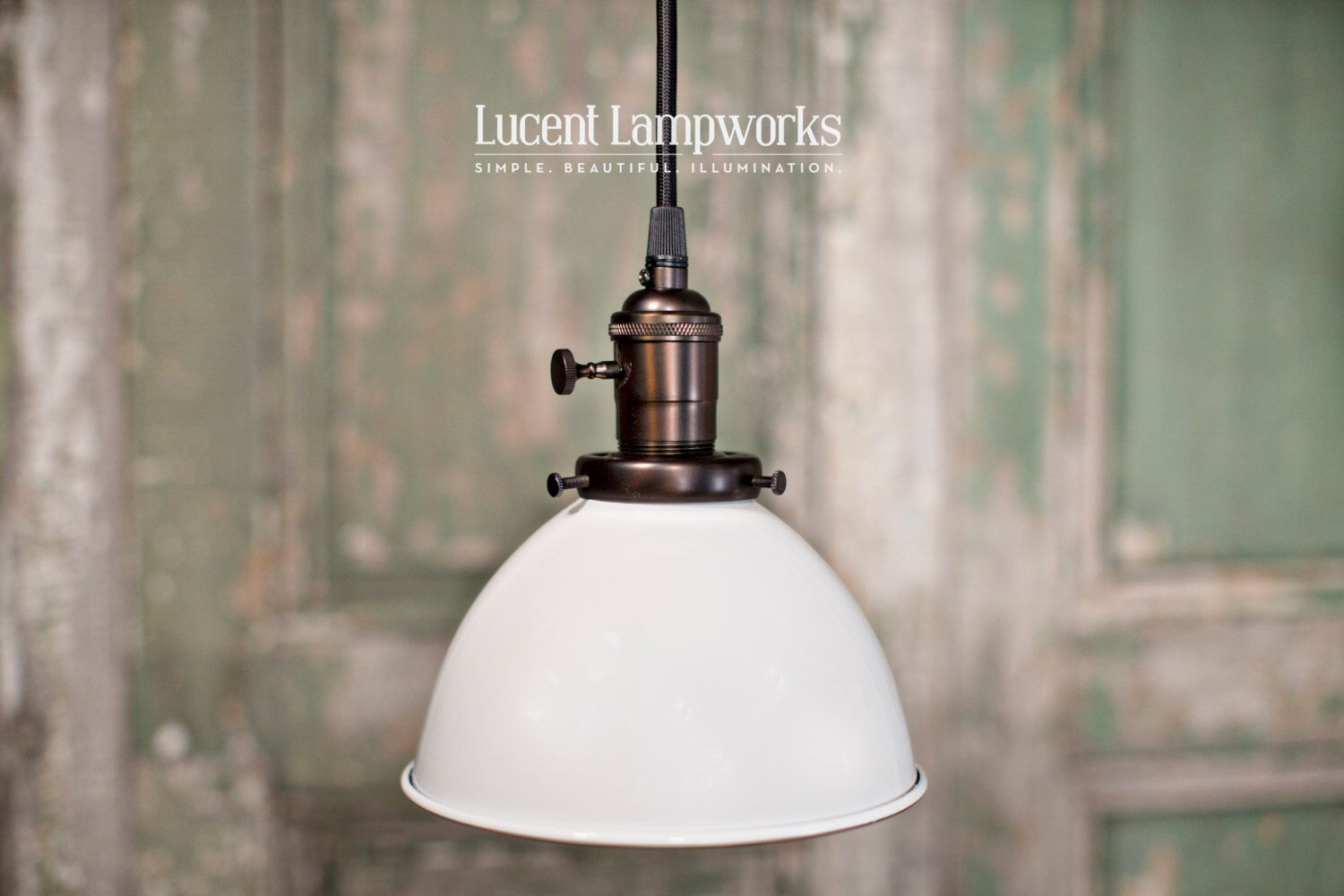 Pendant lighting white dome shade inch pendants industrial