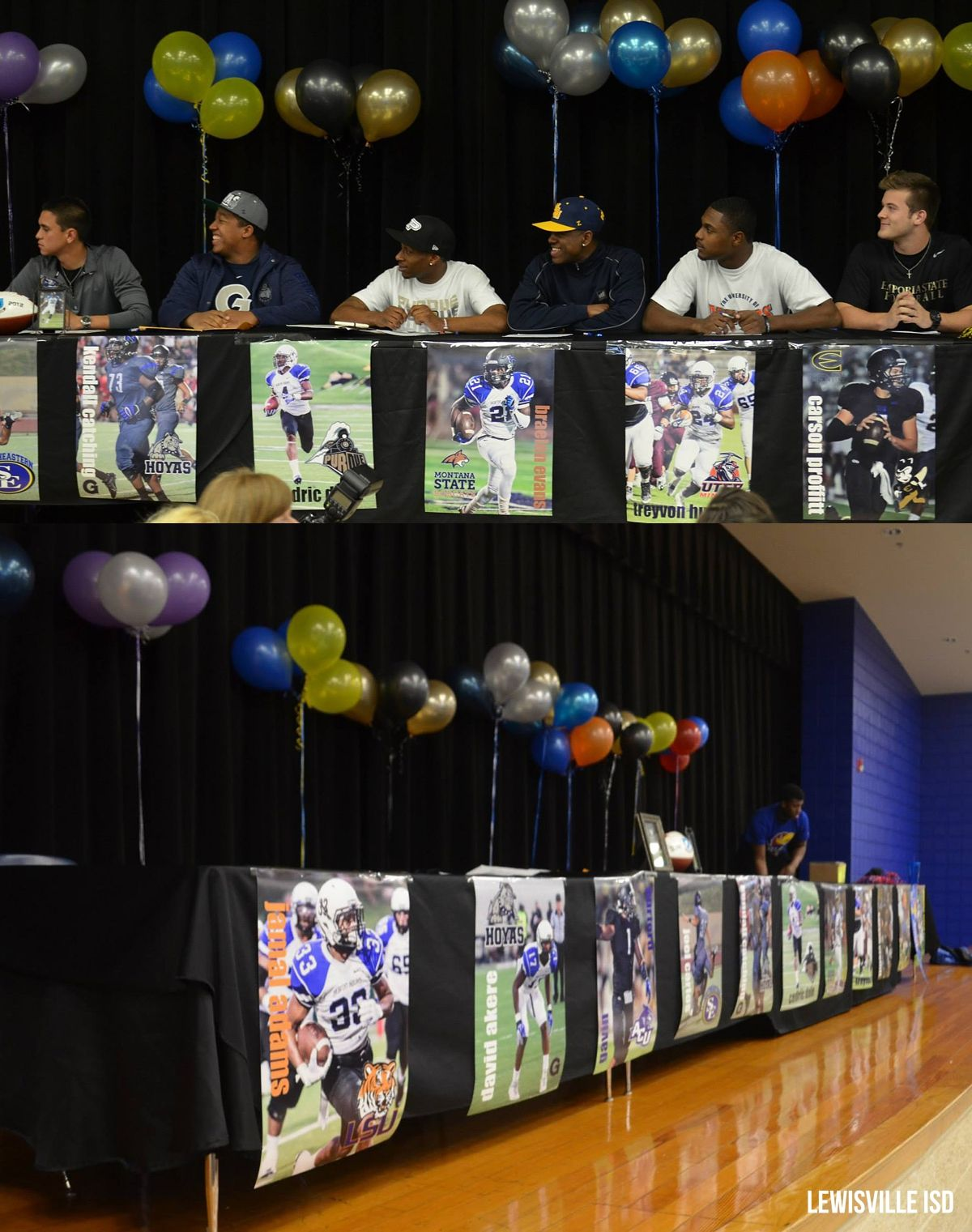 Hebron High School Athletes On National Signing Day Lisd Lewisville Isd Balloons Decorations Post National Signing Day College Signing Day Signing Ideas