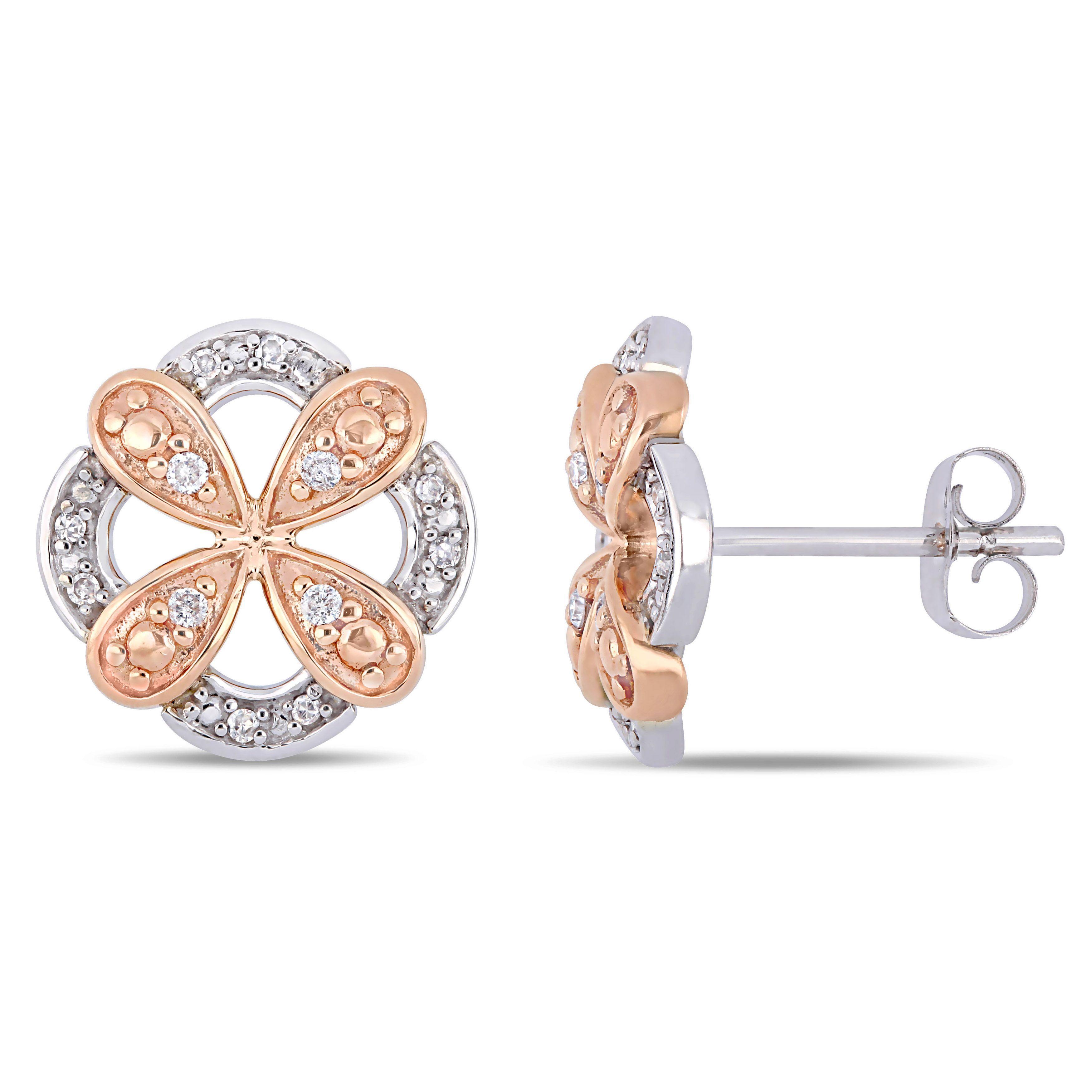Everly Diamond Flower Petal Fashion Stud Earrings In 10k White Rose Gold Jewelry Inspiration Latest Jewellery Trends Stud Earrings