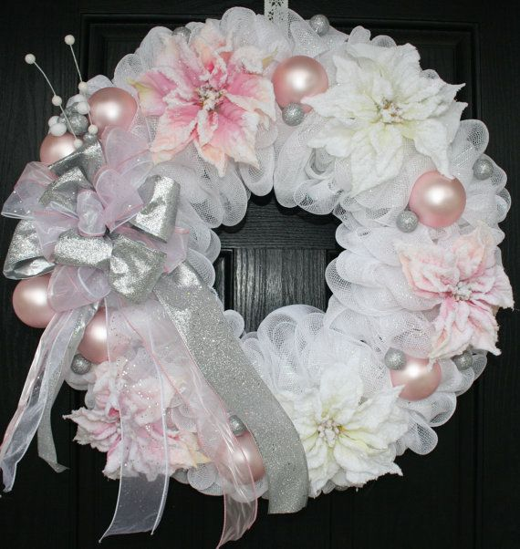 Pink and White Poinsettia Christmas Deco Mesh Wreath by WreathChic