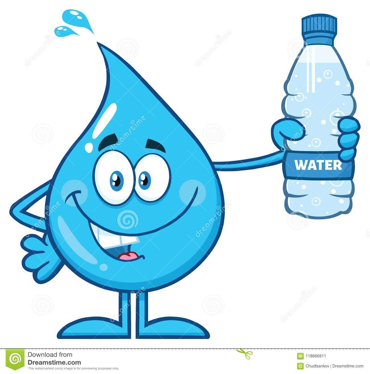 Happy Blue Water Drop Cartoon Mascot Character Holding A Bottled Blue Cartoon Character Save Water Poster Drawing Water Drops