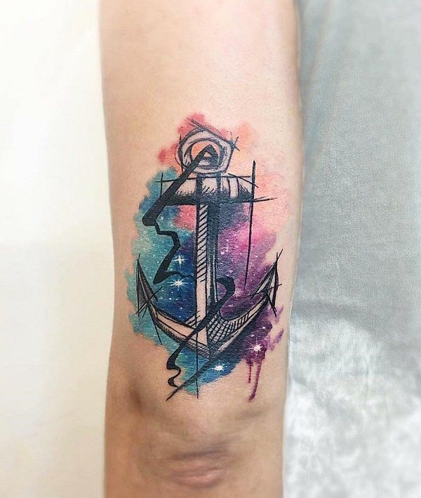 3f0d6d815 Watercolor anchor sleeve tattoo - 35 Awesome Anchor tattoo Designs <3 <3