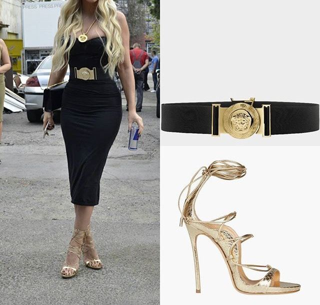 Versace - Medusa Head Utility waist belt, Dsquared - High Heeled Riri sandals