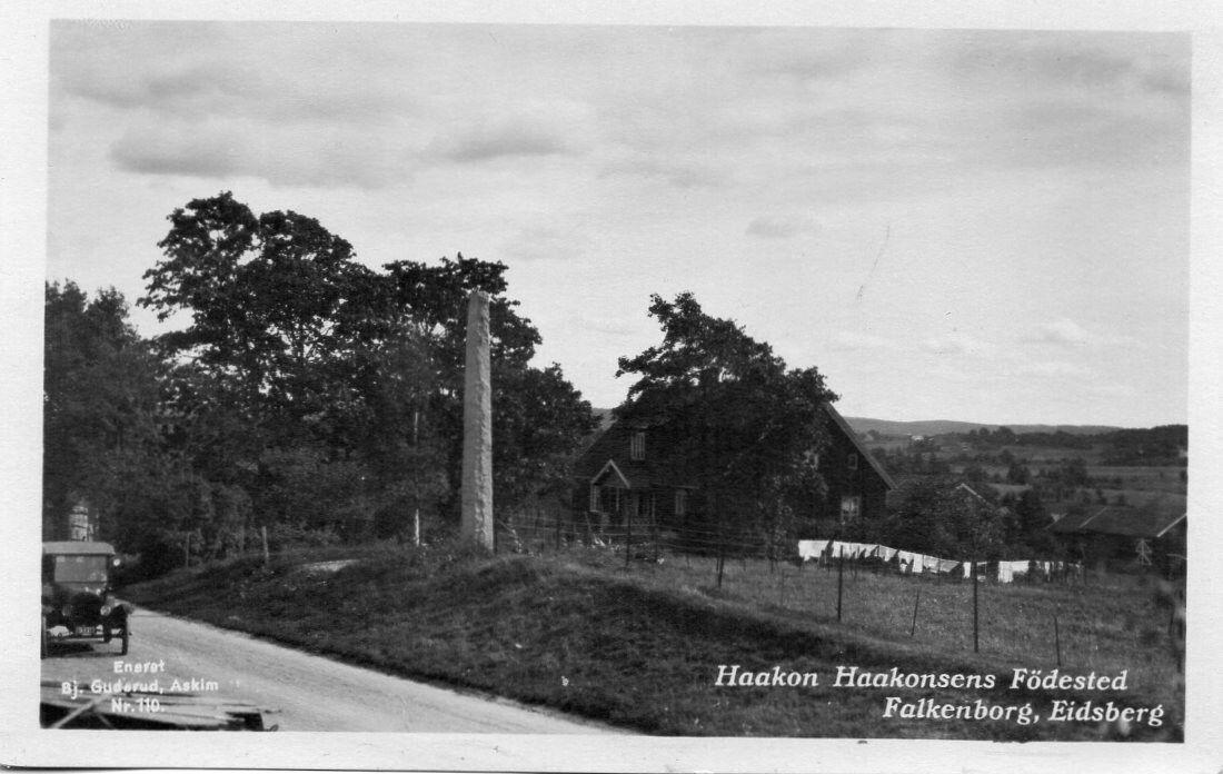 Eidsberg Falkenborg Haakon Haakonssens fødested. Foto: Bj. Guderud,Askim. Ca. 1920-tallet