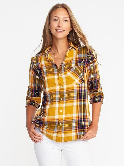 9223433c5f Classic Fall Mustard Plaid Flannel Shirt for Women | On Style in ...