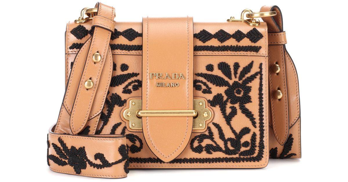 53a6e65e5101c9 lyst prada cahier leather shoulder bag in brown,prada brown leather  shoulder bag - www.pradaus.top