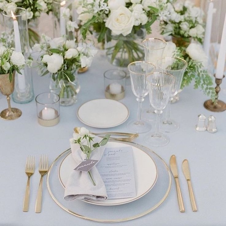 Elegant White Wedding Theme: The Most Elegant Grey, White And Gold Table Setting