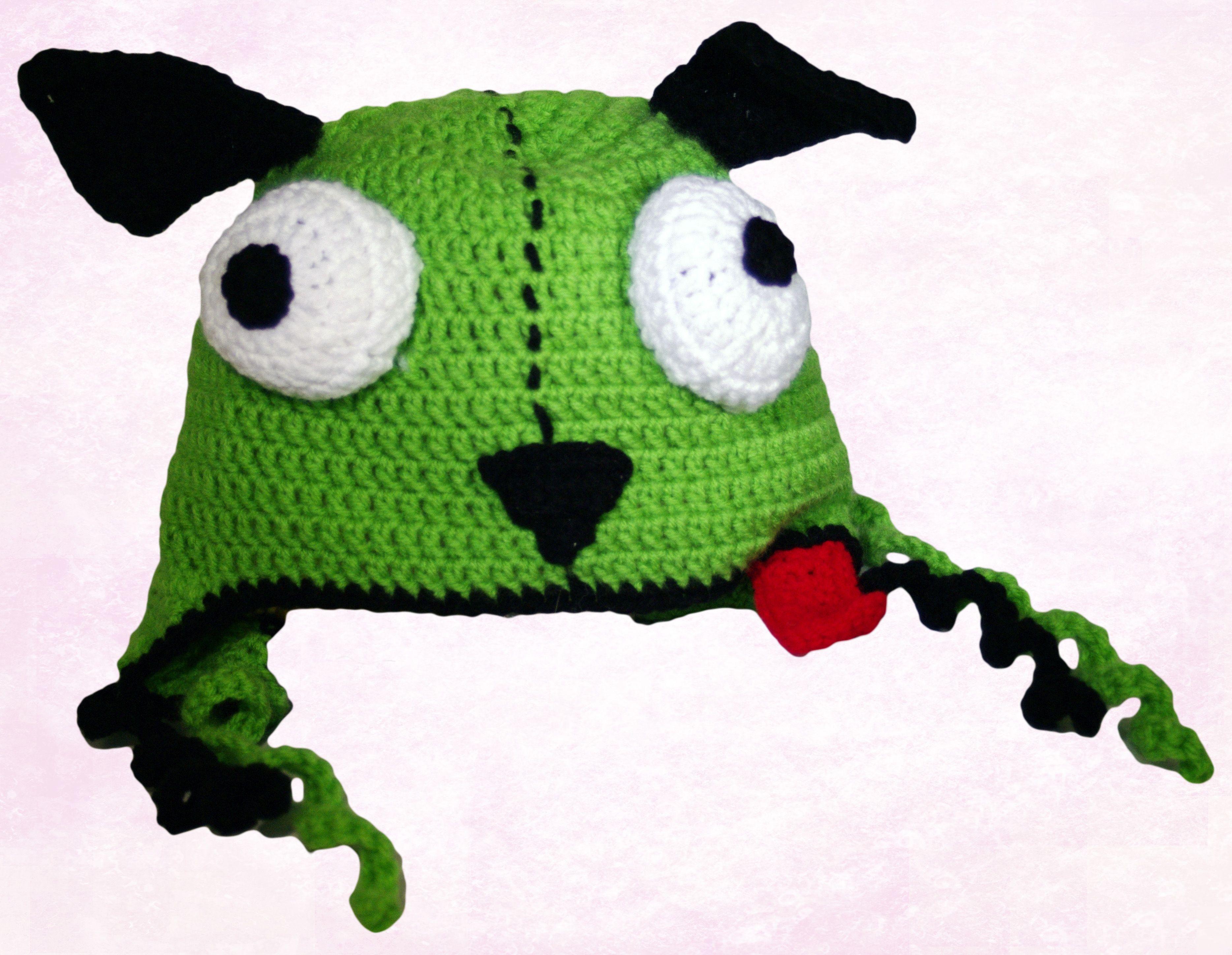 Invader Zim ~ Gir ~ Earflap Crochet Hat
