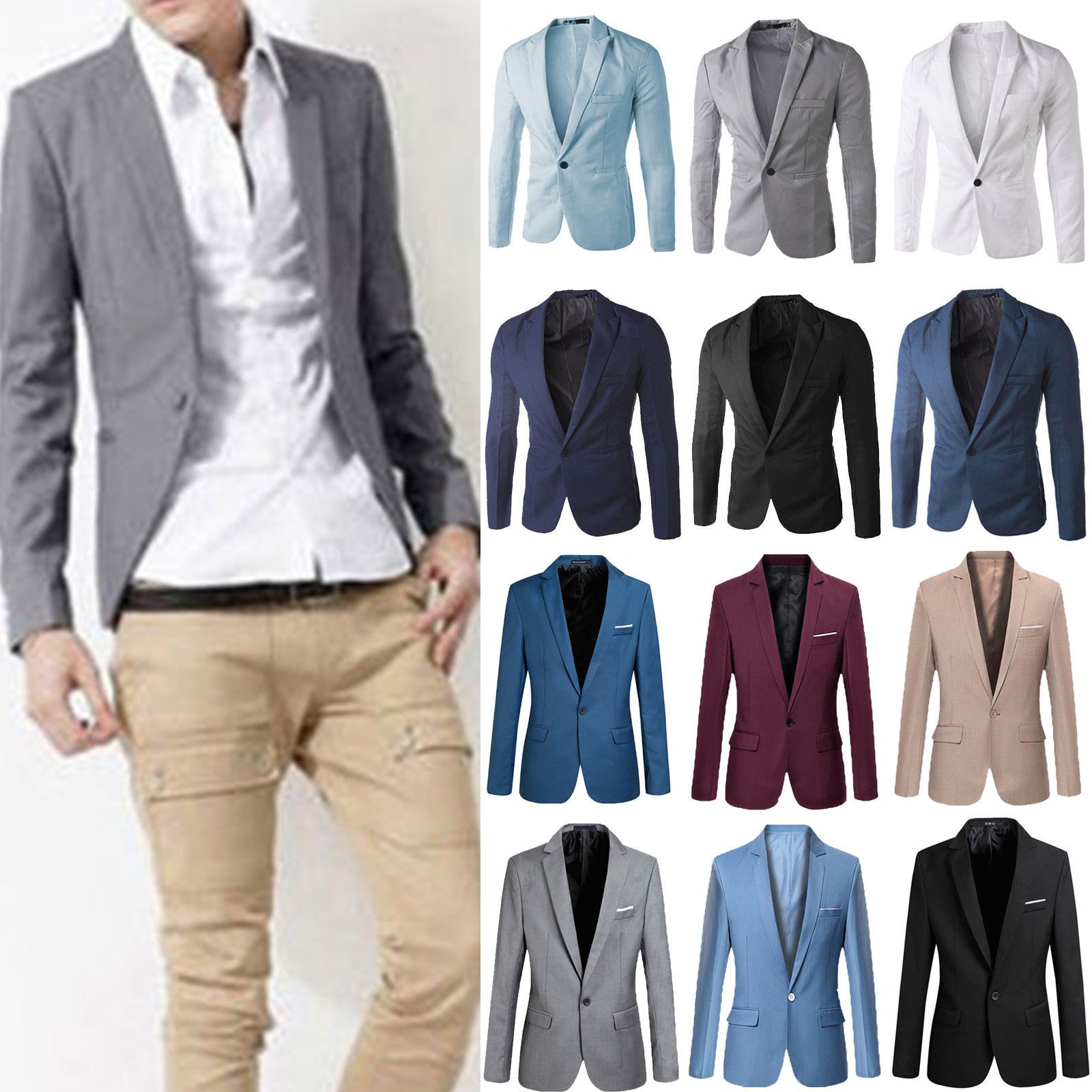 f55dd9e60f6 US Mens Slim Fit One Button Formal Suit Luxury Blazer Business Party Coat  Jacket