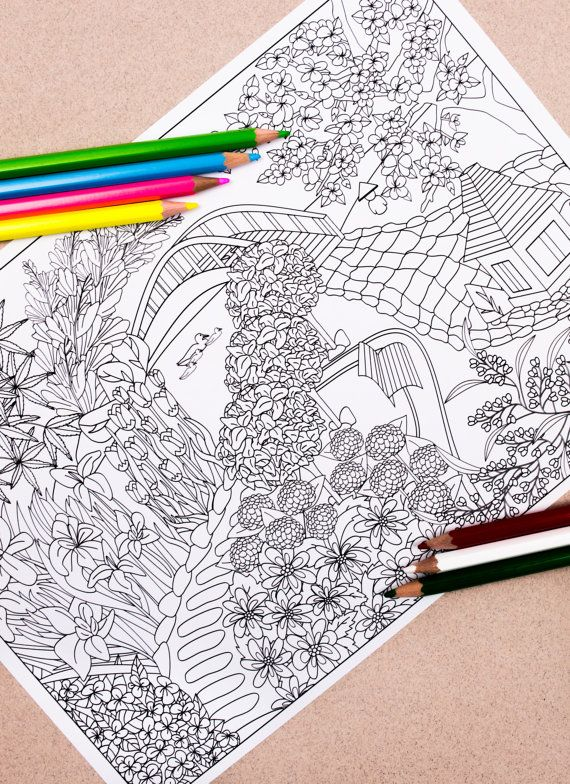 Japanese Garden Colouring Page Downloadable