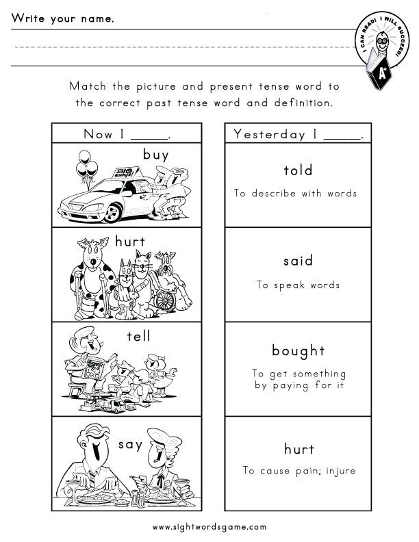 Irregular-verbs-worksheet-6 Sight Word Worksheets Pinterest - active verbs list