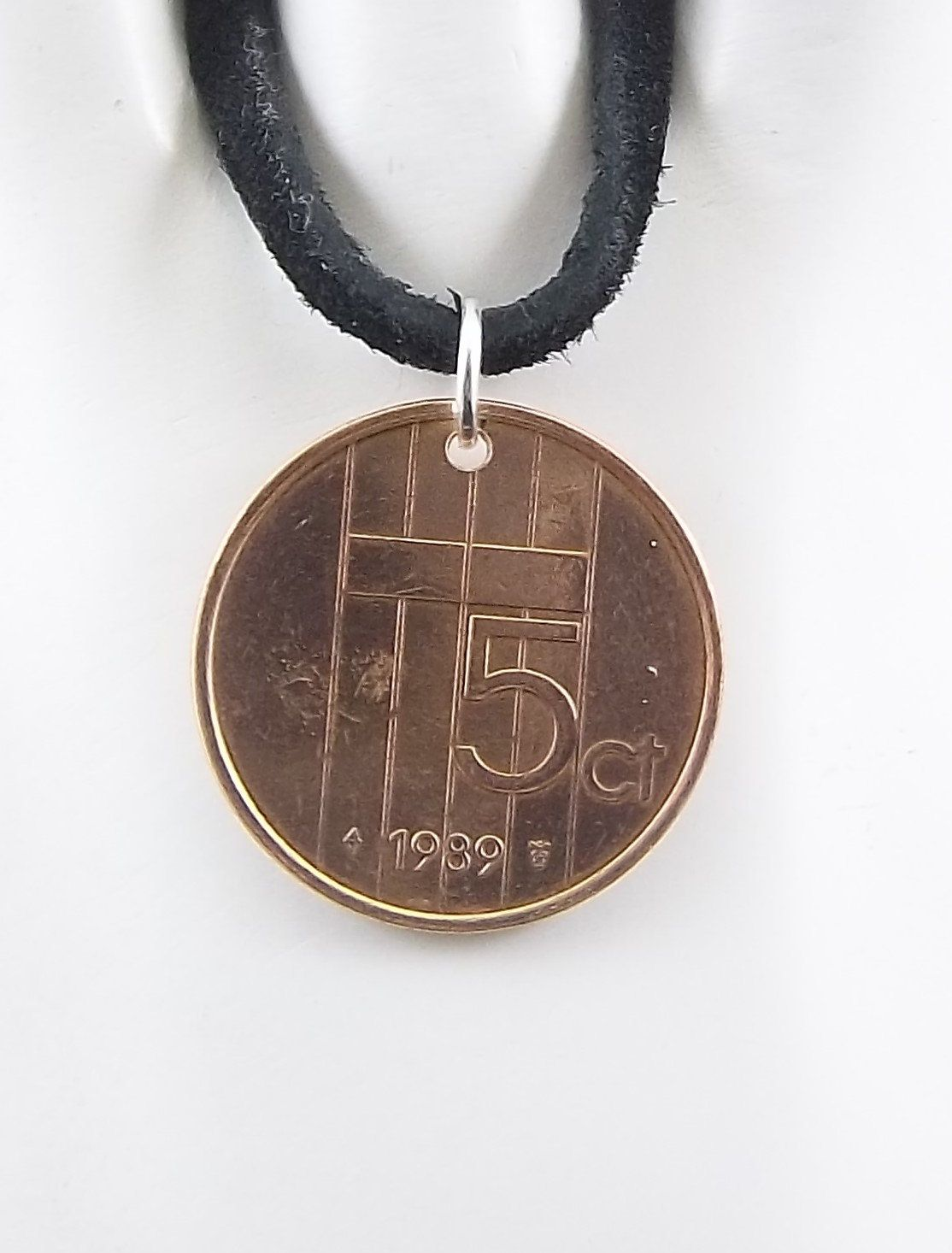Netherlands Coin Necklace, 5 Cents, Coin Pendant, Leather Cord, Mens Necklace, Womens Necklace, Birth Year, 1989 by AutumnWindsJewelry on Etsy